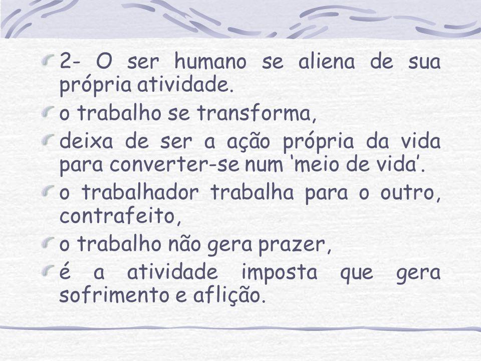 2- O ser humano se aliena de sua própria atividade.