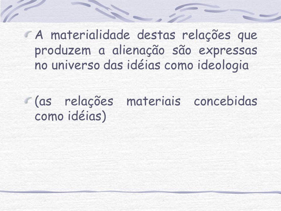 A materialidade destas relações que produzem a alienação são expressas no universo das idéias como ideologia