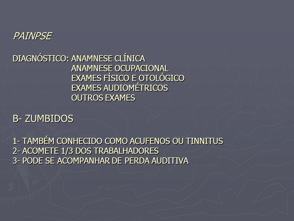 PAINPSE DIAGNÓSTICO: ANAMNESE CLÍNICA ANAMNESE OCUPACIONAL EXAMES FÍSICO E OTOLÓGICO EXAMES AUDIOMÉTRICOS OUTROS EXAMES B- ZUMBIDOS 1- TAMBÉM CONHECIDO COMO ACUFENOS OU TINNITUS 2- ACOMETE 1/3 DOS TRABALHADORES 3- PODE SE ACOMPANHAR DE PERDA AUDITIVA