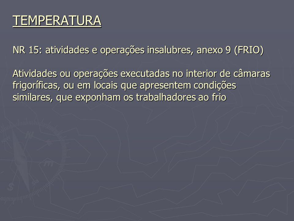 TEMPERATURA NR 15: atividades e operações insalubres, anexo 9 (FRIO) Atividades ou operações executadas no interior de câmaras frigoríficas, ou em locais que apresentem condições similares, que exponham os trabalhadores ao frio