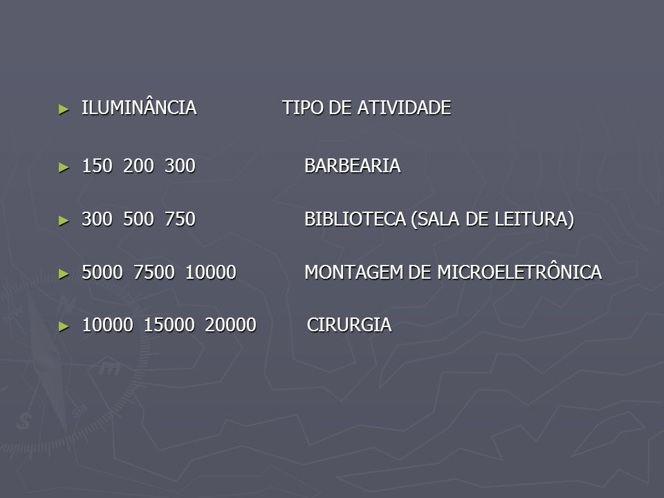 ILUMINÂNCIA TIPO DE ATIVIDADE