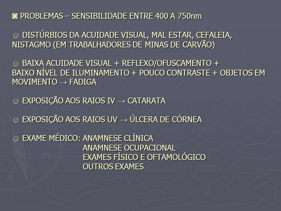 ◙ PROBLEMAS – SENSIBILIDADE ENTRE 400 A 750nm ☺ DISTÚRBIOS DA ACUIDADE VISUAL, MAL ESTAR, CEFALEIA, NISTAGMO (EM TRABALHADORES DE MINAS DE CARVÃO) ☺ BAIXA ACUIDADE VISUAL + REFLEXO/OFUSCAMENTO + BAIXO NÍVEL DE ILUMINAMENTO + POUCO CONTRASTE + OBJETOS EM MOVIMENTO → FADIGA ☺ EXPOSIÇÃO AOS RAIOS IV → CATARATA ☺ EXPOSIÇÃO AOS RAIOS UV → ÚLCERA DE CÓRNEA ☺ EXAME MÉDICO: ANAMNESE CLÍNICA ANAMNESE OCUPACIONAL EXAMES FÍSICO E OFTAMOLÓGICO OUTROS EXAMES