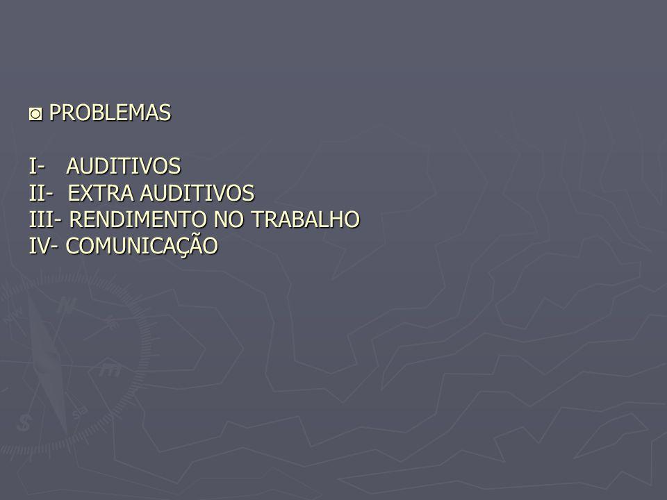 ◙ PROBLEMAS I- AUDITIVOS II- EXTRA AUDITIVOS III- RENDIMENTO NO TRABALHO IV- COMUNICAÇÃO