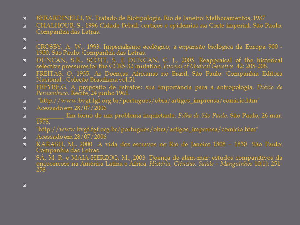 BERARDINELLI, W. Tratado de Biotipologia