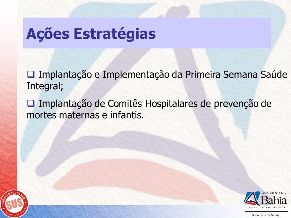 Ações Estratégias Implantação e Implementação da Primeira Semana Saúde Integral;