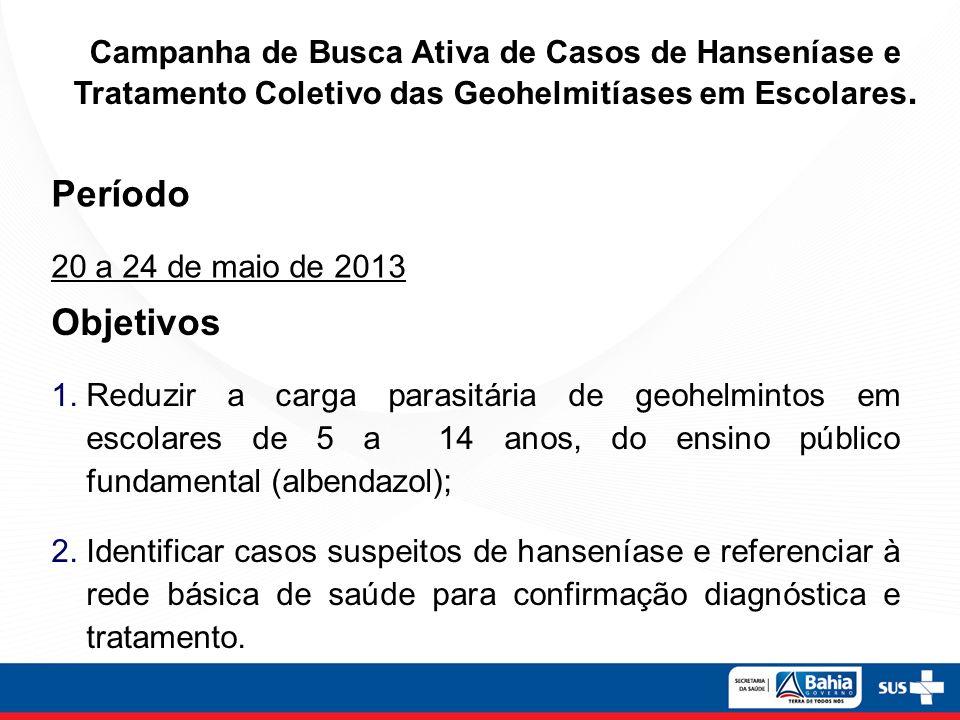 Campanha de Busca Ativa de Casos de Hanseníase e Tratamento Coletivo das Geohelmitíases em Escolares.