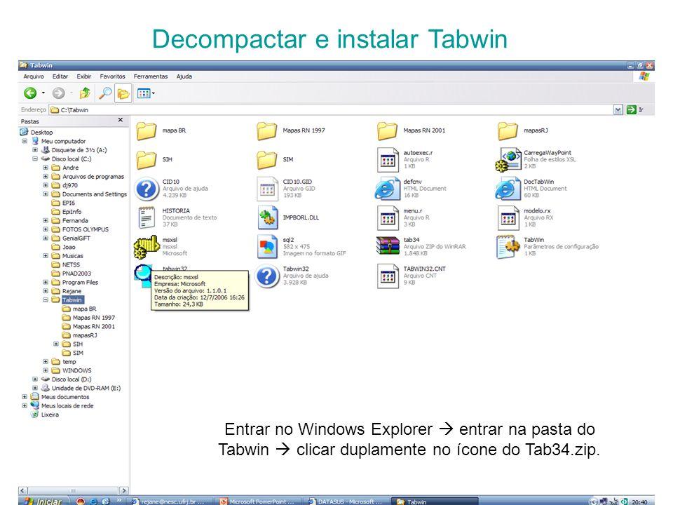 Decompactar e instalar Tabwin