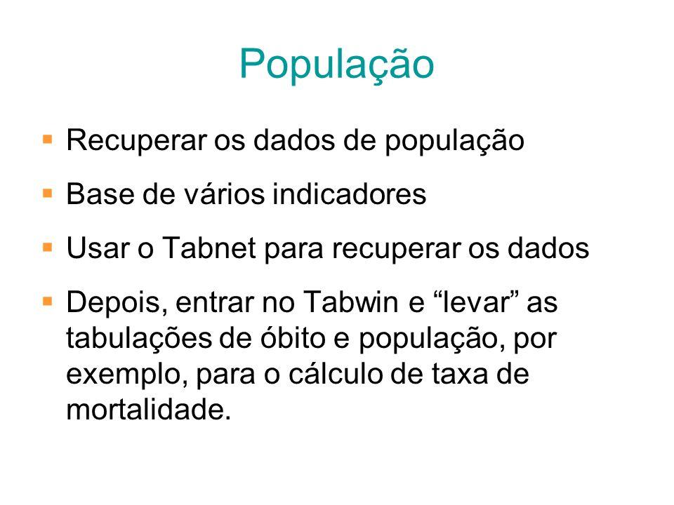 População Recuperar os dados de população Base de vários indicadores