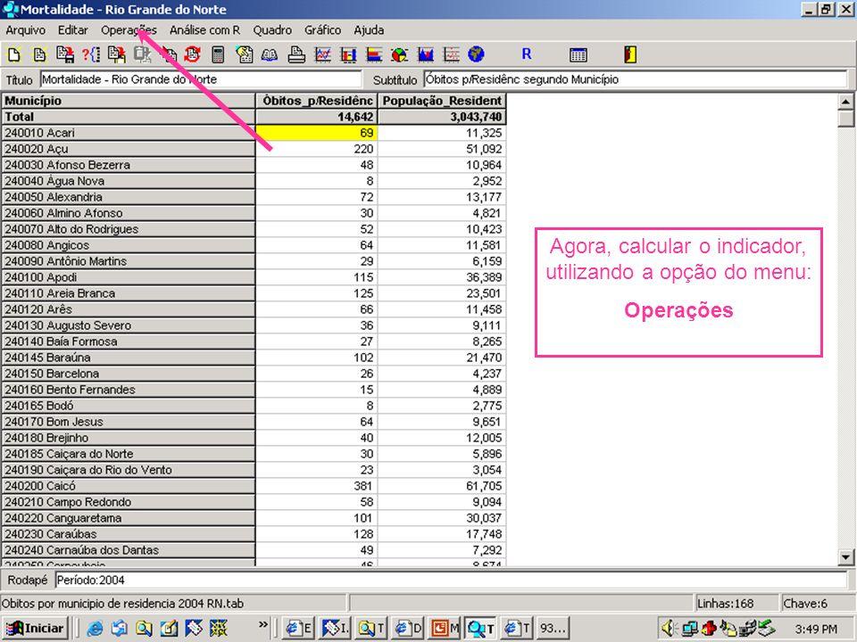Agora, calcular o indicador, utilizando a opção do menu: