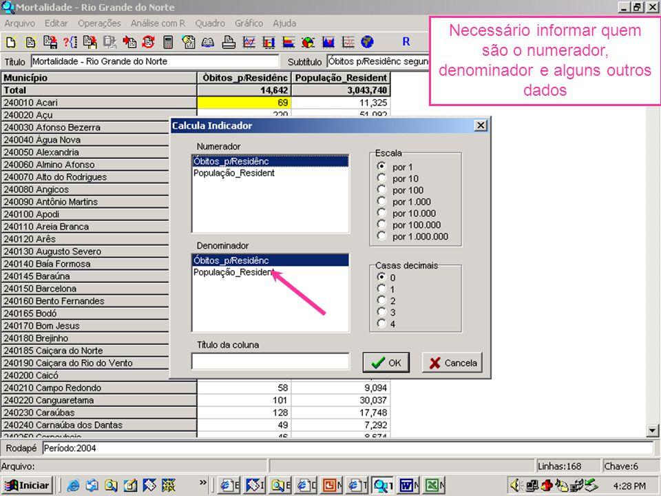Necessário informar quem são o numerador, denominador e alguns outros dados