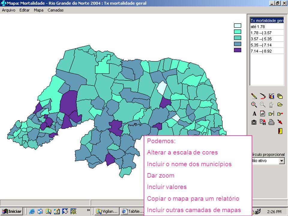 Podemos:Alterar a escala de cores. Incluir o nome dos municípios. Dar zoom. Incluir valores. Copiar o mapa para um relatório.