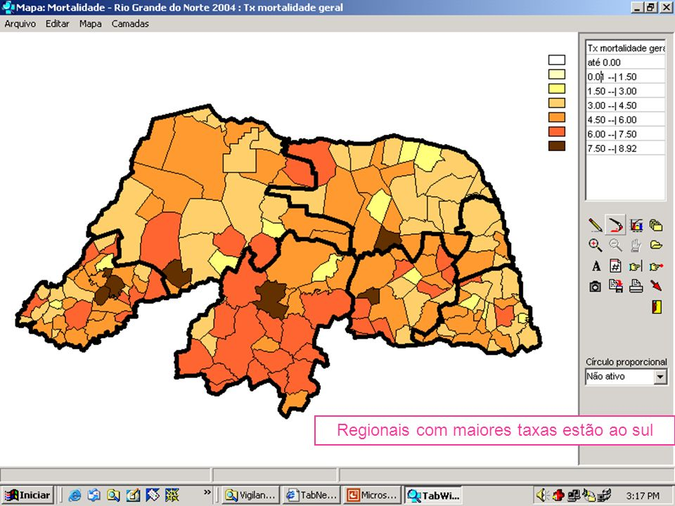 Regionais com maiores taxas estão ao sul