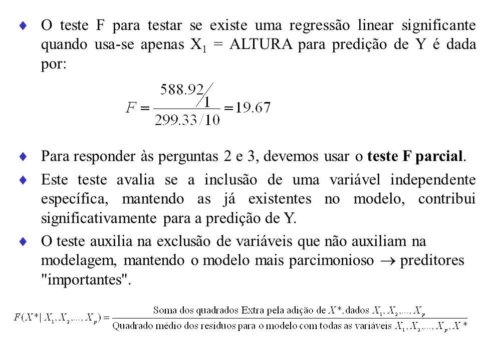 O teste F para testar se existe uma regressão linear significante quando usa-se apenas X1 = ALTURA para predição de Y é dada por: