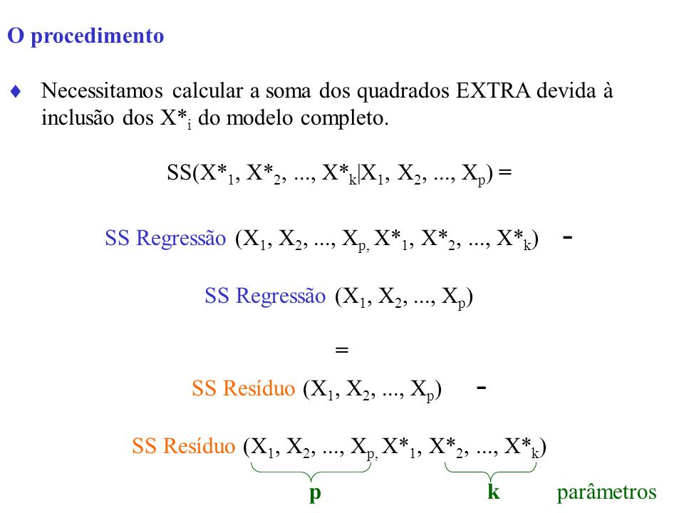 SS Regressão (X1, X2, ..., Xp, X*1, X*2, ..., X*k) -