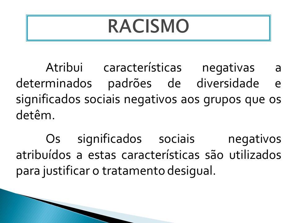 RACISMOAtribui características negativas a determinados padrões de diversidade e significados sociais negativos aos grupos que os detêm.