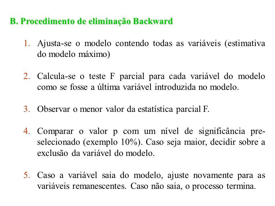 B. Procedimento de eliminação Backward