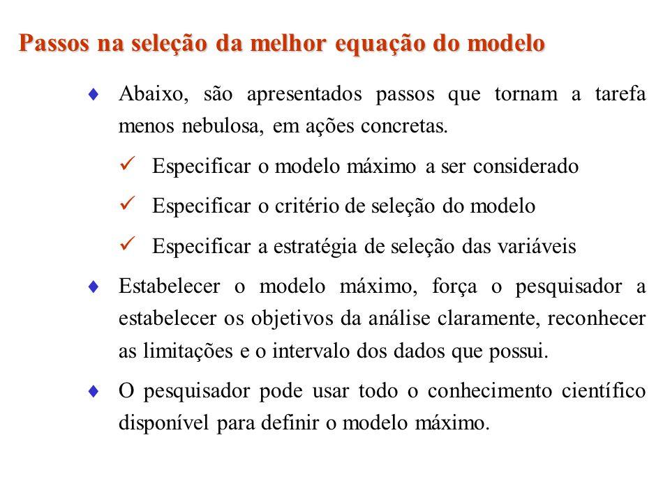 Passos na seleção da melhor equação do modelo