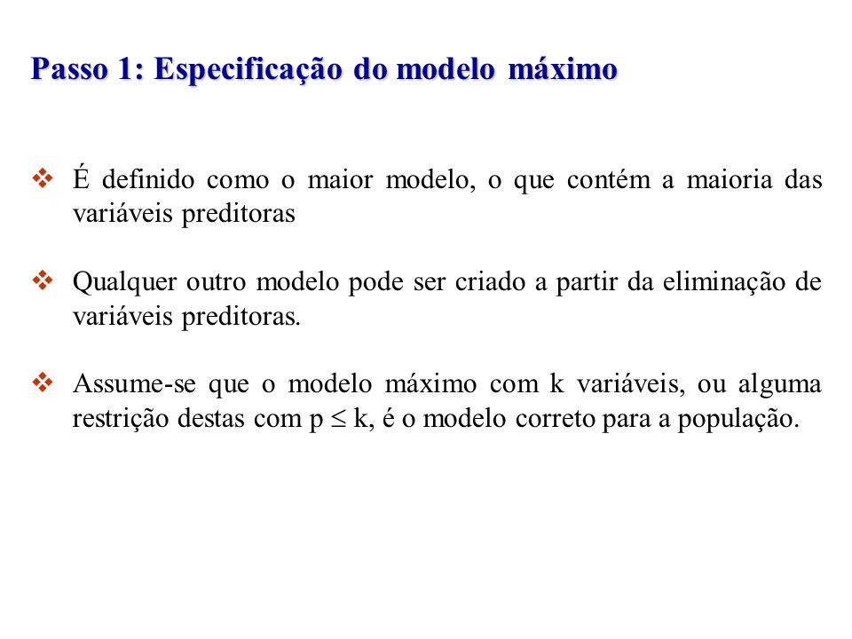 Passo 1: Especificação do modelo máximo