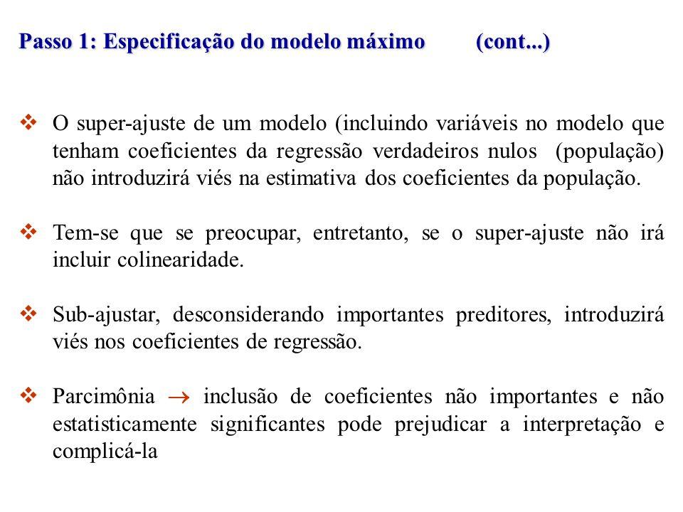 Passo 1: Especificação do modelo máximo (cont...)
