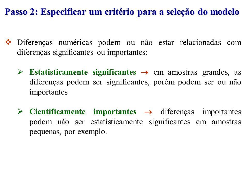 Passo 2: Especificar um critério para a seleção do modelo
