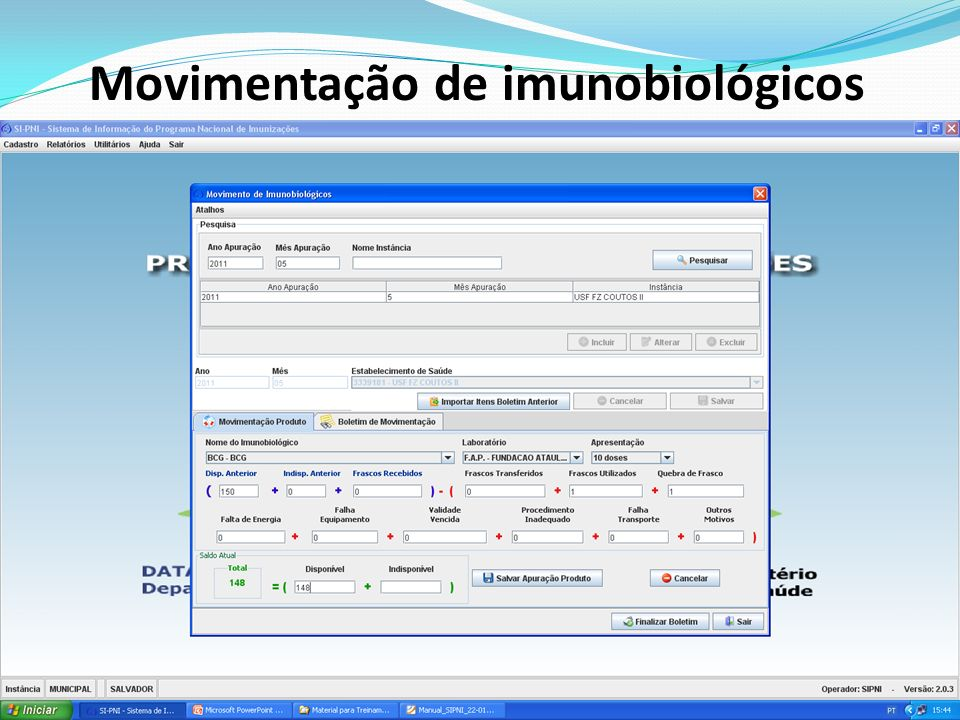 Movimentação de imunobiológicos