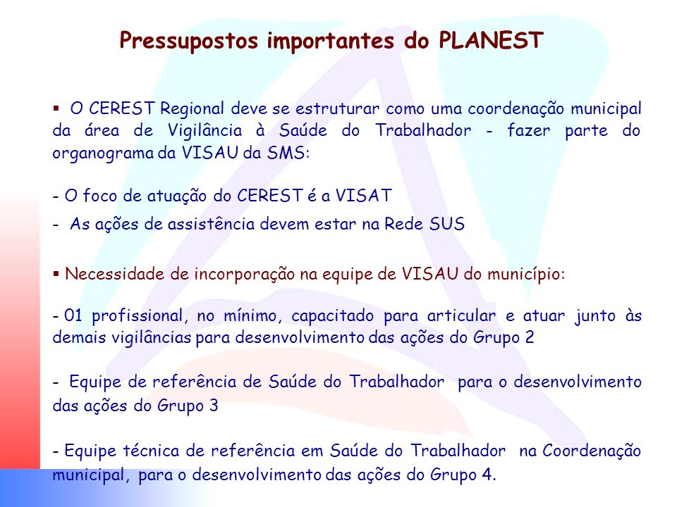 Pressupostos importantes do PLANEST