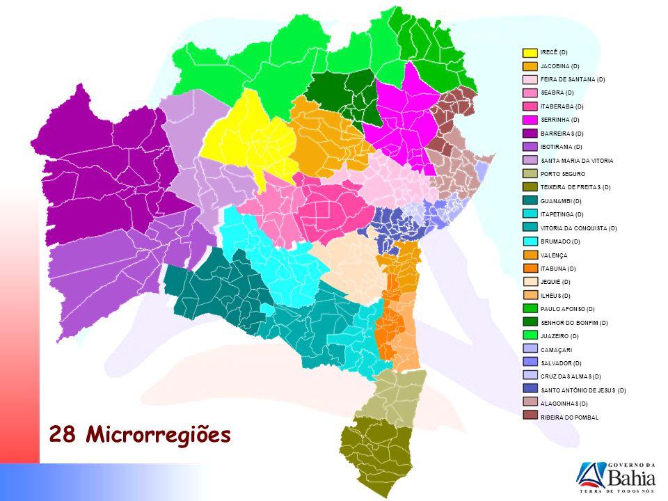 Microrregiões 28 Microrregiões IRECÊ (D) JACOBINA (D)