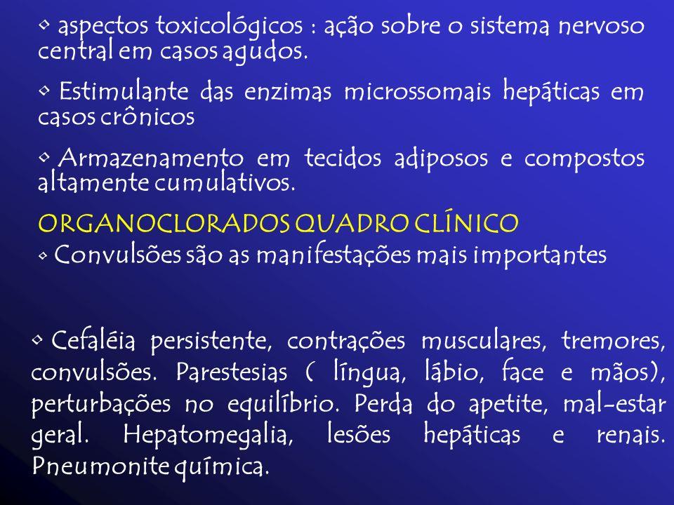 aspectos toxicológicos : ação sobre o sistema nervoso central em casos agudos.