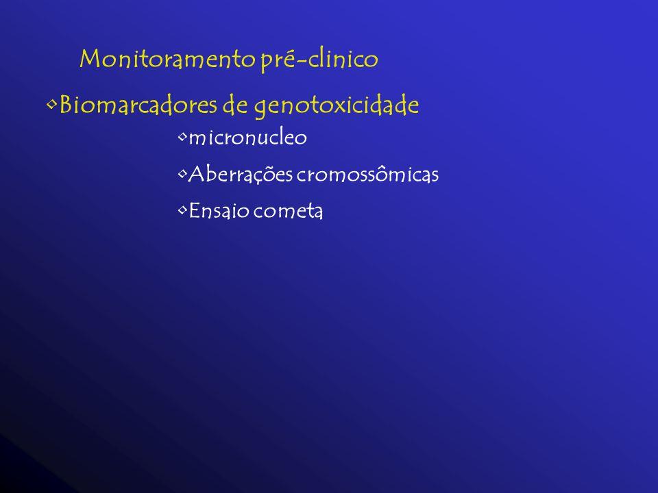Monitoramento pré-clinico Biomarcadores de genotoxicidade