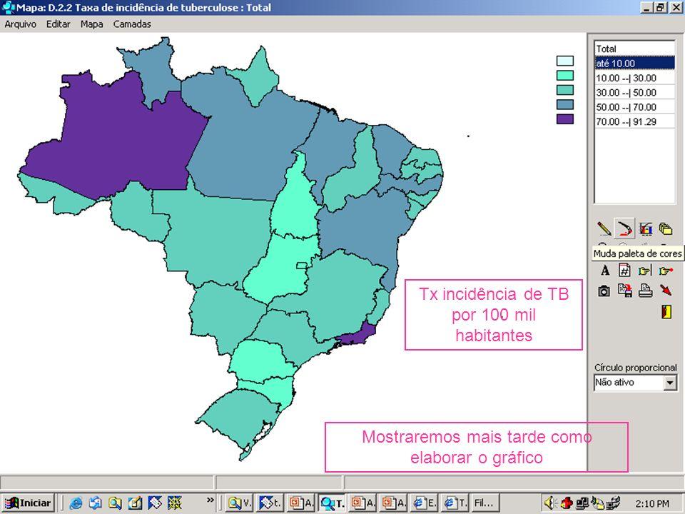 Tx incidência de TB por 100 mil habitantes