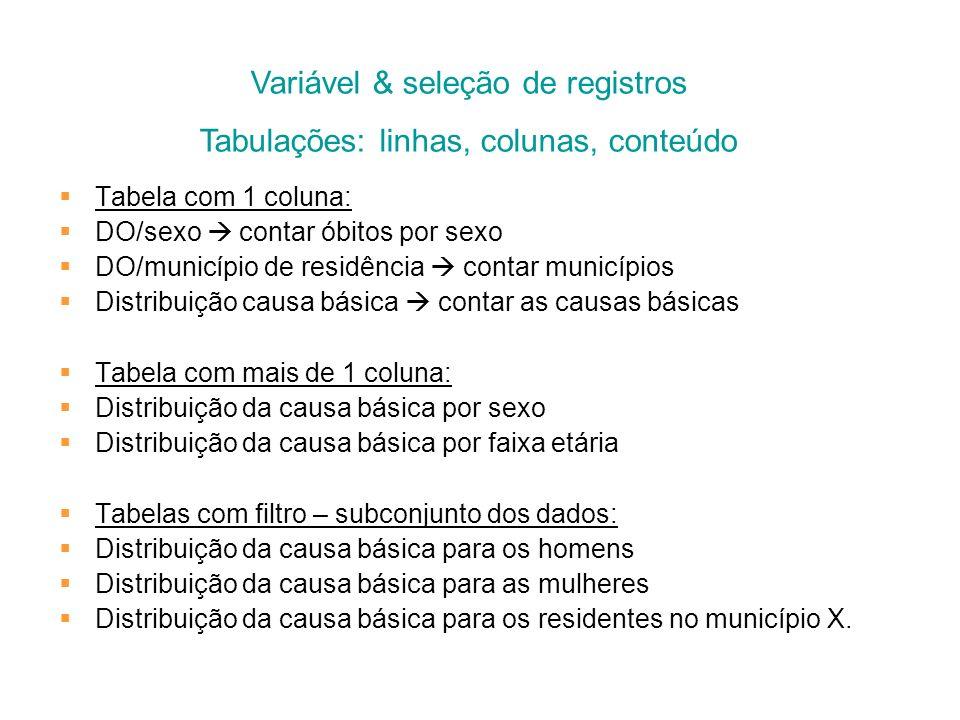 Variável & seleção de registros Tabulações: linhas, colunas, conteúdo
