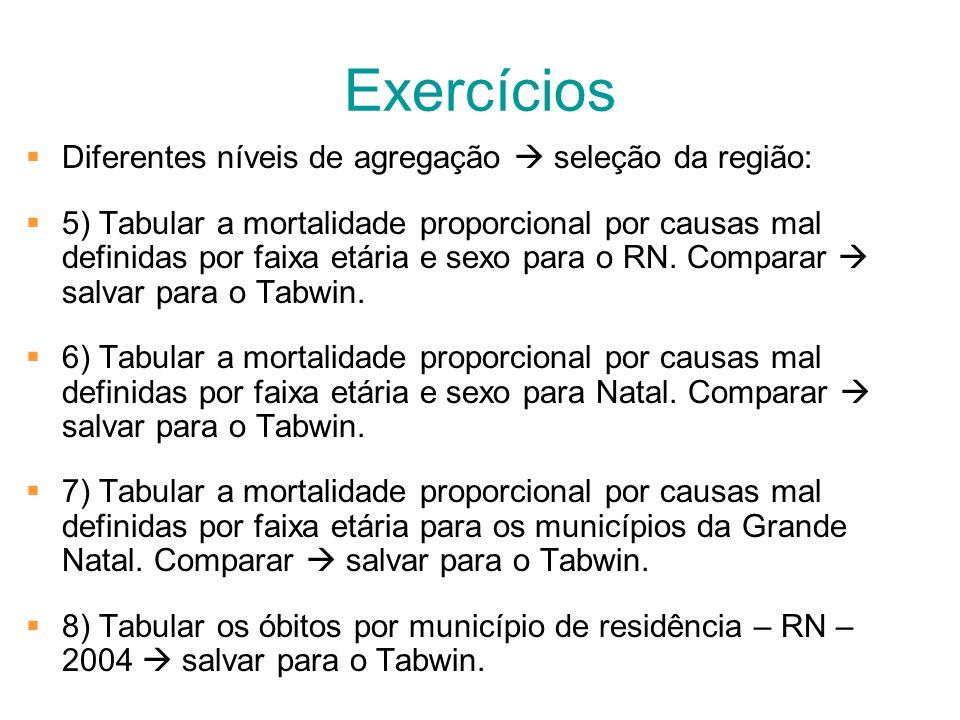 Exercícios Diferentes níveis de agregação  seleção da região: