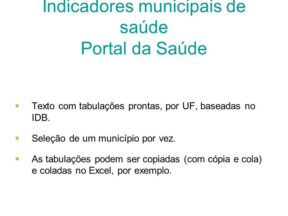 Indicadores municipais de saúde Portal da Saúde
