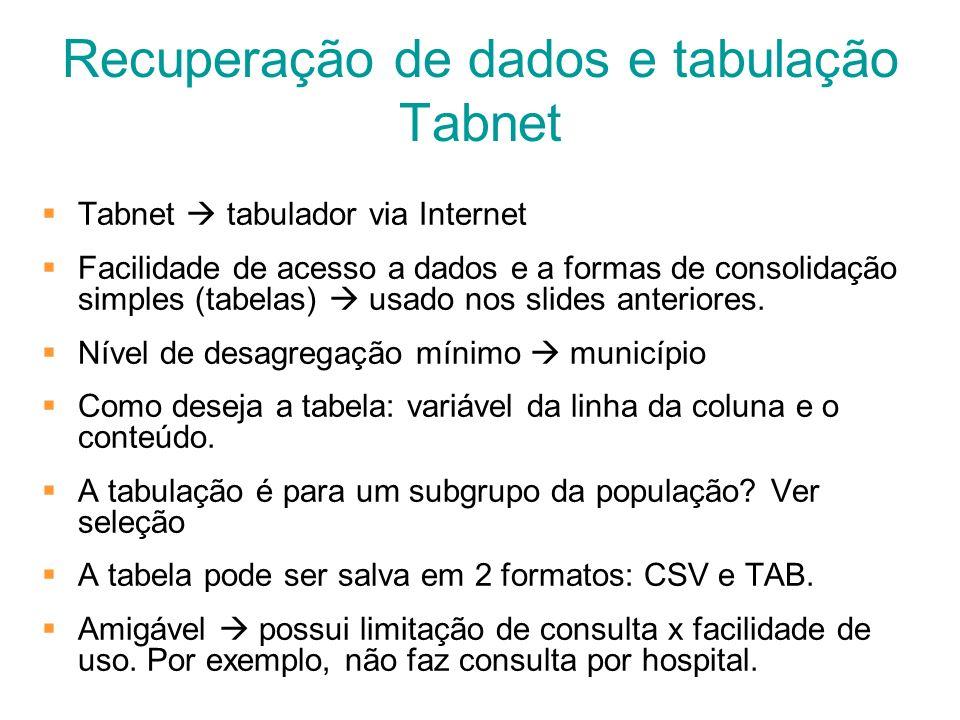 Recuperação de dados e tabulação Tabnet