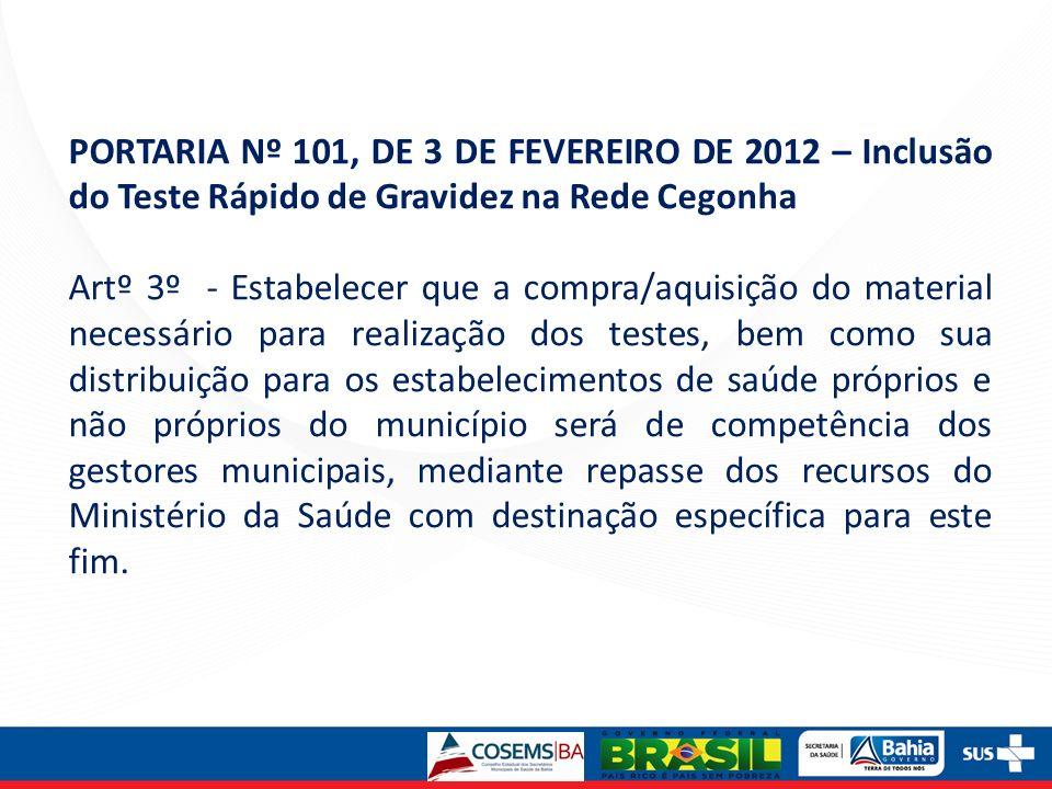 PORTARIA Nº 101, DE 3 DE FEVEREIRO DE 2012 – Inclusão do Teste Rápido de Gravidez na Rede Cegonha