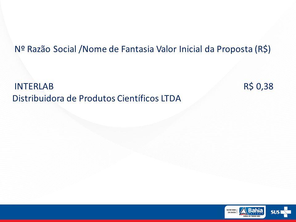 Nº Razão Social /Nome de Fantasia Valor Inicial da Proposta (R$)