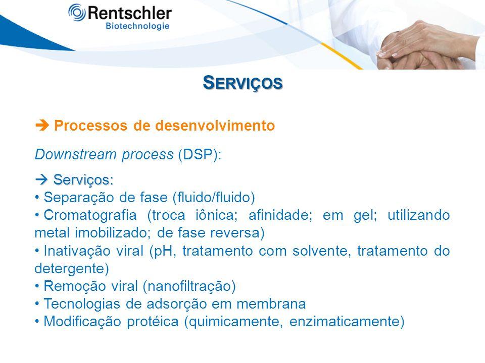 Serviços  Processos de desenvolvimento Downstream process (DSP):