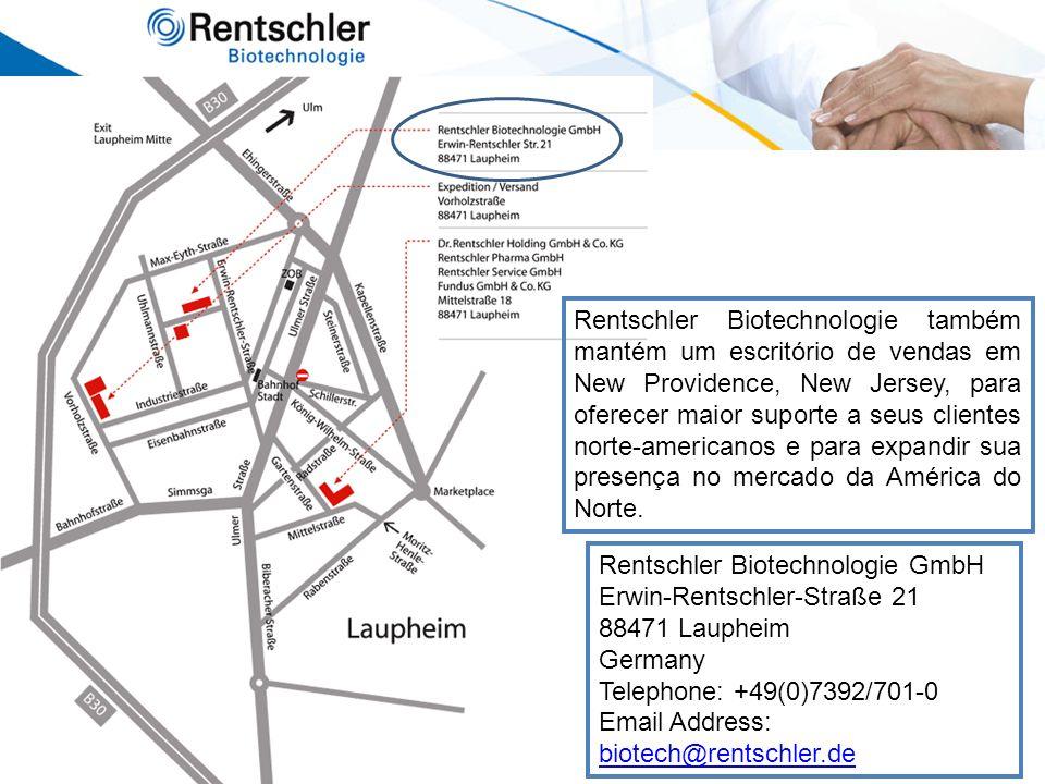 Rentschler Biotechnologie também mantém um escritório de vendas em New Providence, New Jersey, para oferecer maior suporte a seus clientes norte-americanos e para expandir sua presença no mercado da América do Norte.