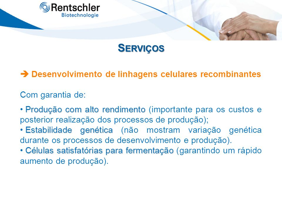 Serviços  Desenvolvimento de linhagens celulares recombinantes