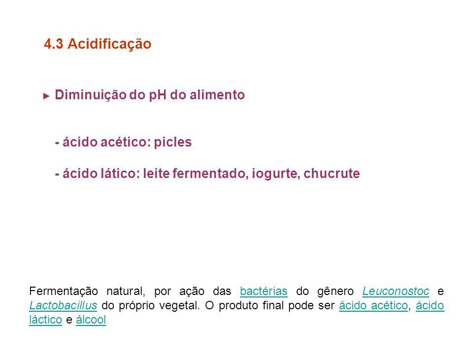 4.3 Acidificação - ácido acético: picles