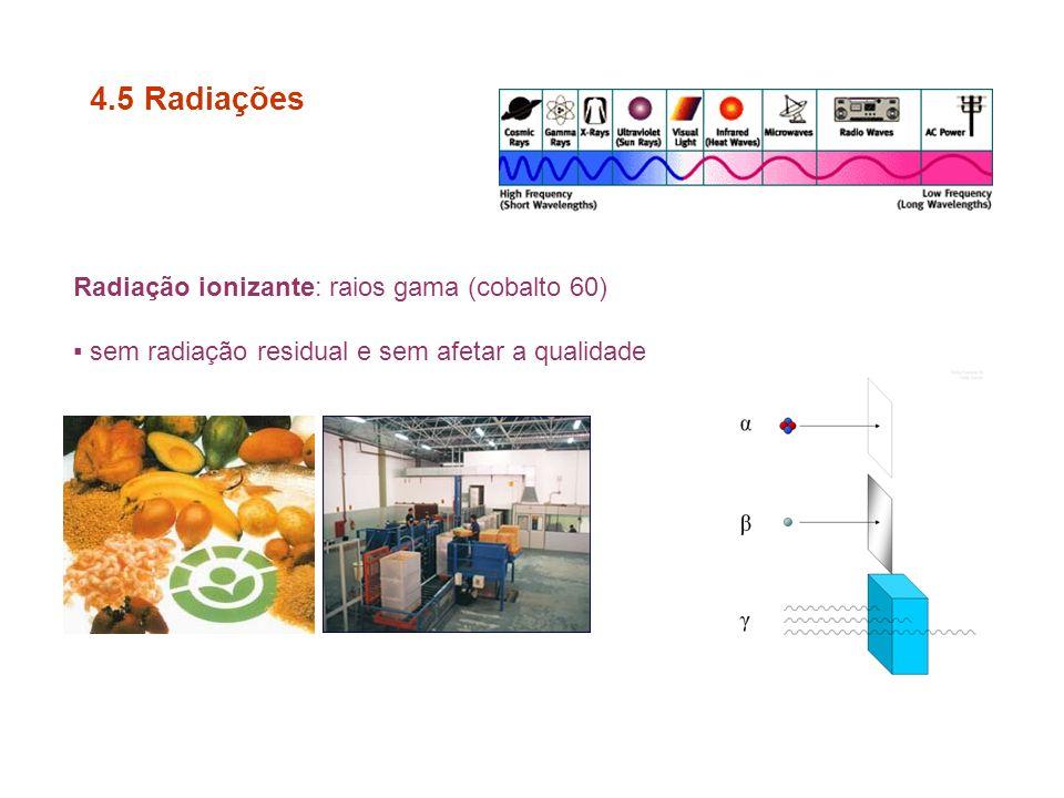 4.5 Radiações Radiação ionizante: raios gama (cobalto 60)