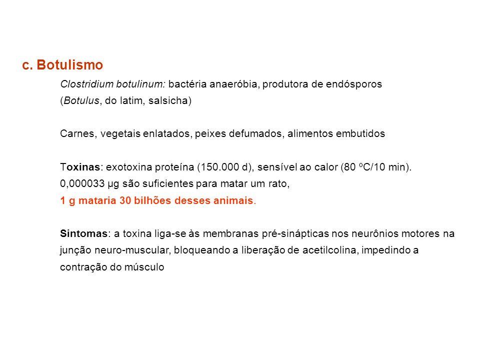 c. Botulismo Clostridium botulinum: bactéria anaeróbia, produtora de endósporos. (Botulus, do latim, salsicha)