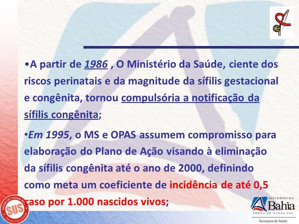 A partir de 1986 , O Ministério da Saúde, ciente dos riscos perinatais e da magnitude da sífilis gestacional e congênita, tornou compulsória a notificação da sífilis congênita;