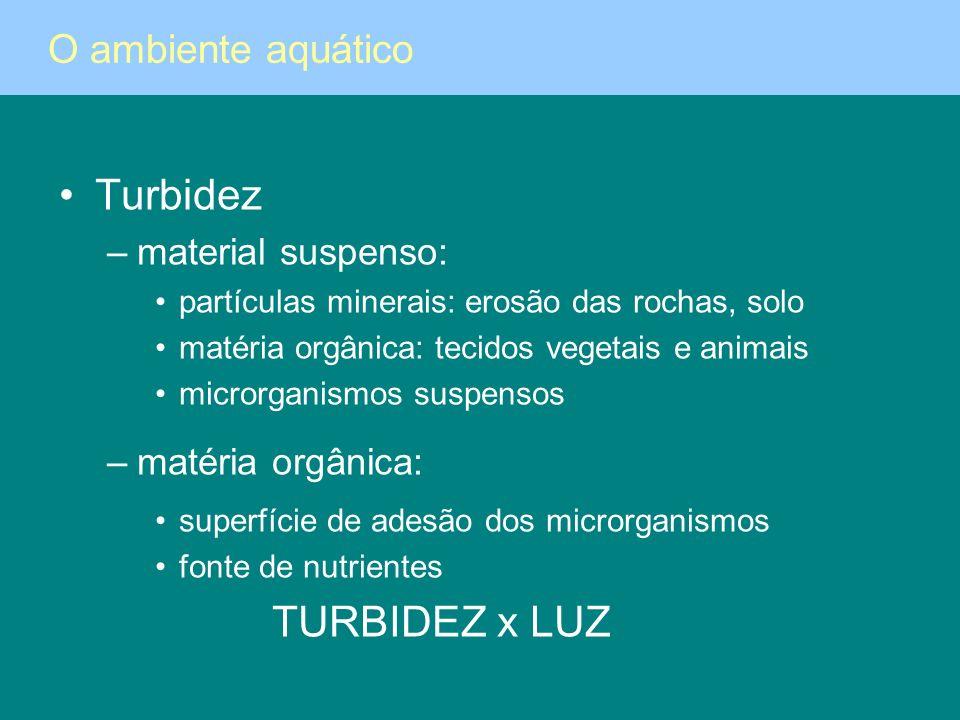 Turbidez TURBIDEZ x LUZ O ambiente aquático material suspenso: