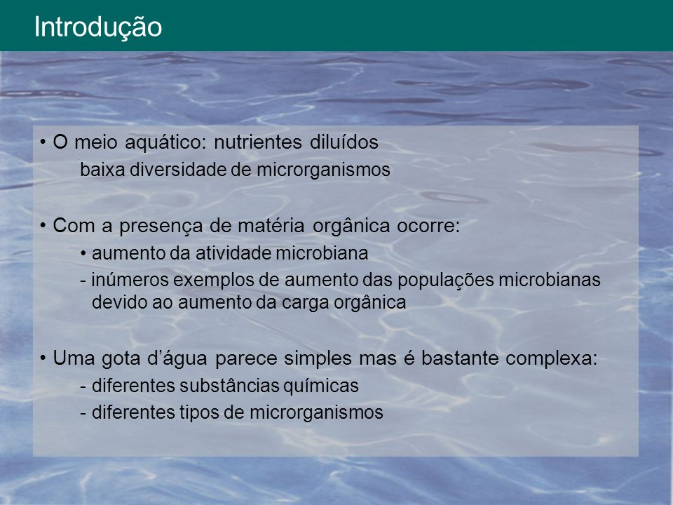 Introdução O meio aquático: nutrientes diluídos