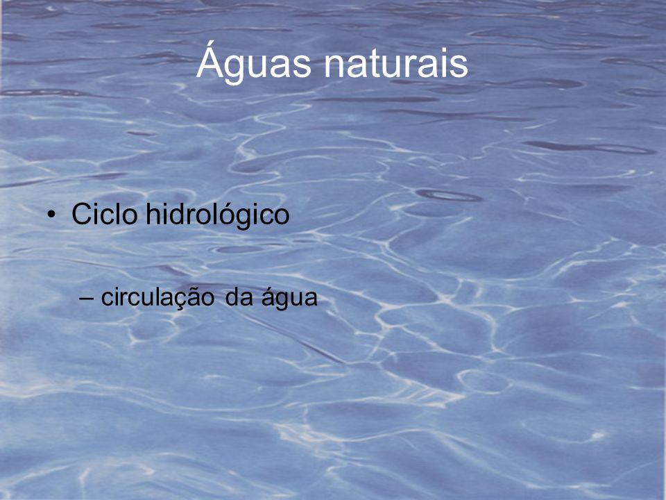 Águas naturais Ciclo hidrológico circulação da água