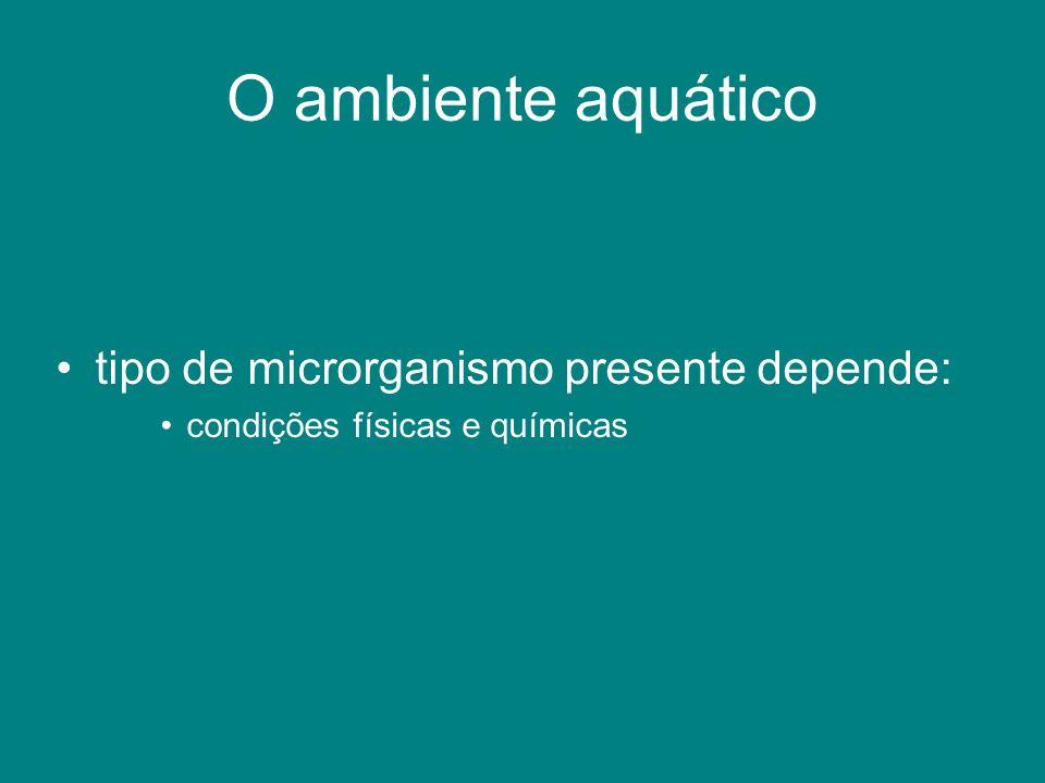 O ambiente aquático tipo de microrganismo presente depende: