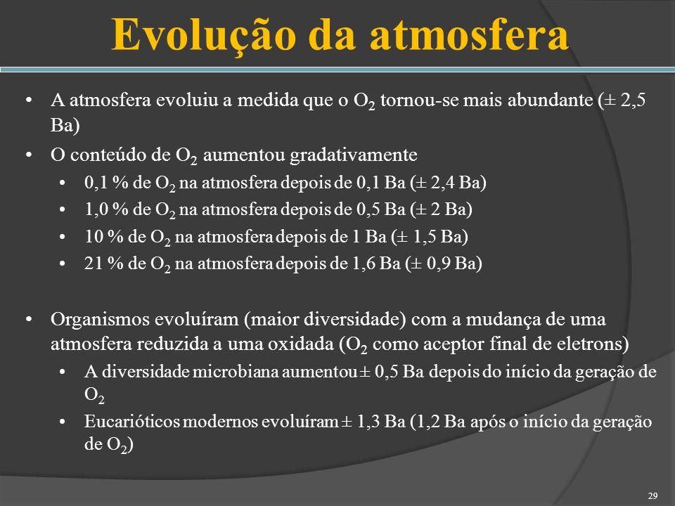 Evolução da atmosferaA atmosfera evoluiu a medida que o O2 tornou-se mais abundante (± 2,5 Ba) O conteúdo de O2 aumentou gradativamente.