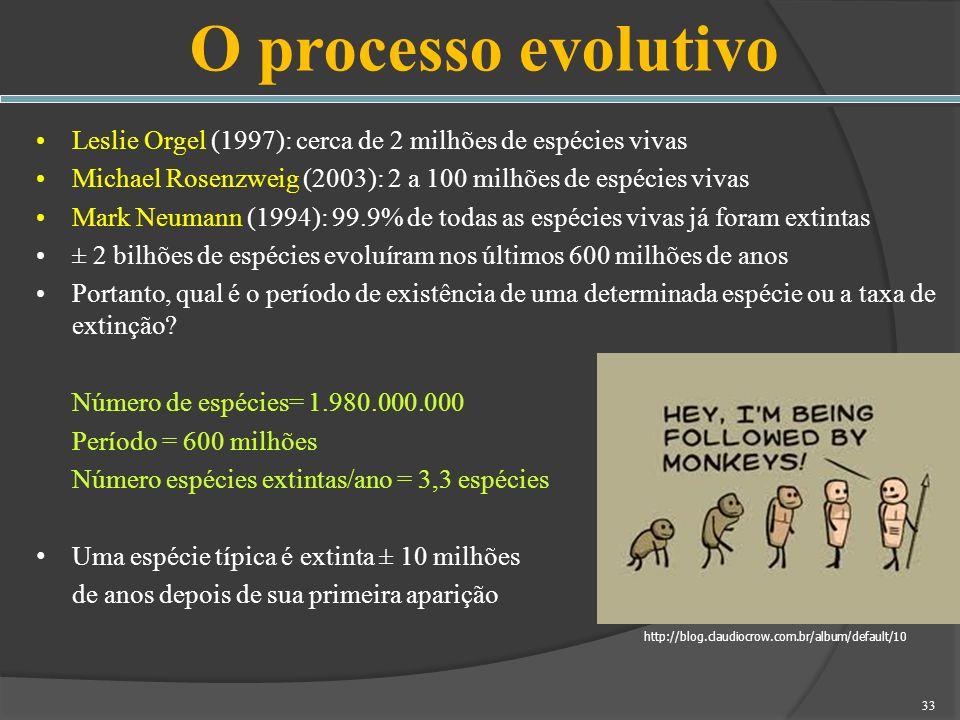 O processo evolutivoLeslie Orgel (1997): cerca de 2 milhões de espécies vivas. Michael Rosenzweig (2003): 2 a 100 milhões de espécies vivas.
