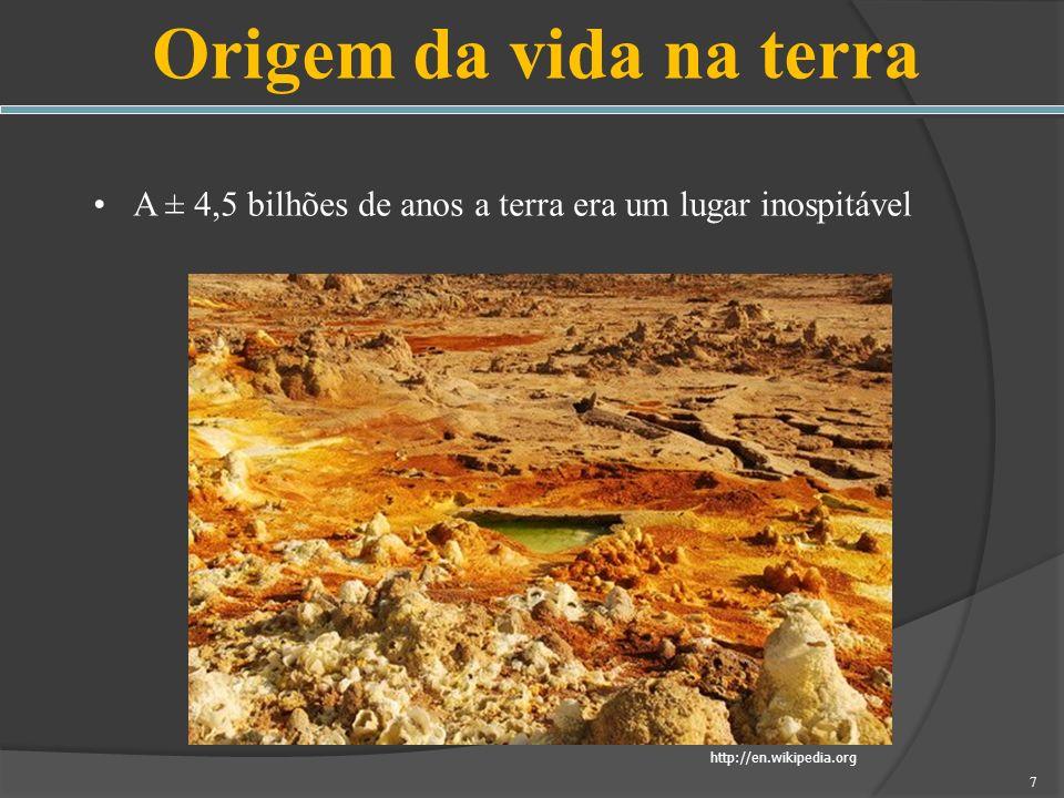 Origem da vida na terra A ± 4,5 bilhões de anos a terra era um lugar inospitável.